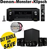 Denon AVRX2200W 7.2 Channel Full 4K Ultra HD A/V Receiver with Bluetooth and Wi-Fi + Klipsch HDT-600 Home Theater System + Monster - Platinum XP Clear Jacket MKIII 50' Compact Speaker Cable - Clear/Copper Bundle
