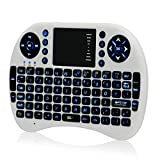 SROCKER K2 Mini 2.4 GHz Wireless Rechargeable Keyboard and Mouse Combo with Remote Control, LED Backlit and Adjustable DPI Function Handheld Touchpad for PC, PAD, XBox 360, PS3, Android TV Box(White)