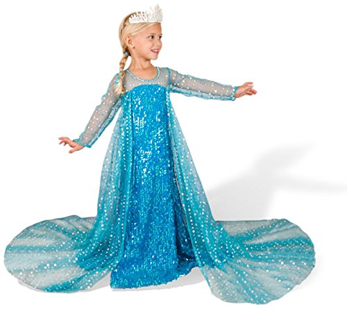 Girls Elsa from Frozen Inspired Halloween Costume Dress, Size 7Y