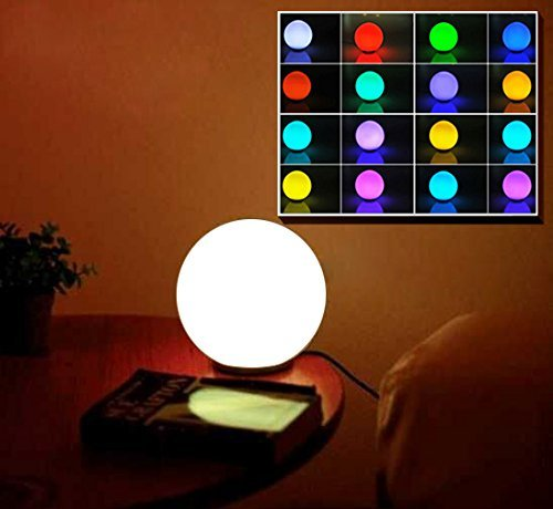 Stoog Lámpara Ambiental LED Forma Globo, Lámapara Decorativa de Mesa Luz Ambiente de 16 Colores Cambiables, Control Remoto, Vidrio+ABS
