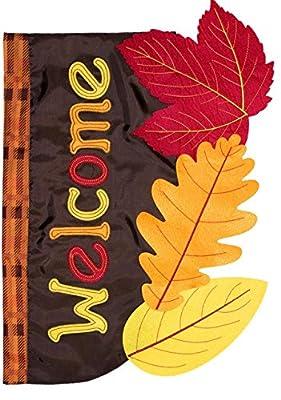 "Briarwood Lane Fall Leaves Applique Garden Flag Welcome Autumn 12.5"" x 18"""