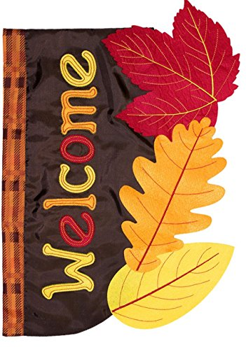 (Briarwood Lane Fall Leaves Applique House Flag Welcome Autumn 28