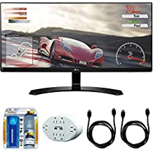 """LG 29"""" 2560x1080 Ultrawide FreeSync IPS LED Monitor (29UM68) with 2x General Brand HDMI to HDMI Cable 6', Xtreme 6 Outlet Wall Tap w/ 2 USB Ports White & Xtreme Performance TV/LCD Screen Cleaning Kit"""