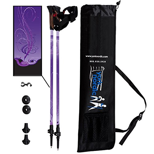 York Nordic Purple Haze Design Hiking & Walking Poles - Lightweight, Adjustable, and Collapsible - Pair w/flip Locks, Rubber feet and Travel Bag (Nordic)