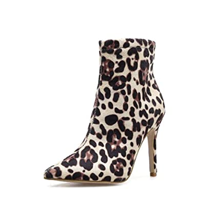 Leopard Print Ankle Bootie Women Sexy Pointed Toe 10.5cm Stiletto Martin Boot OL Court Shoes