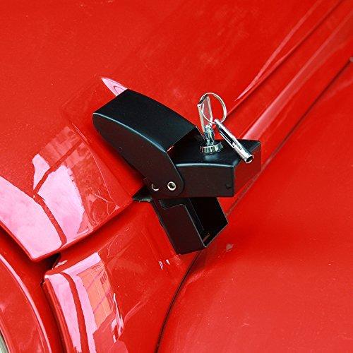 Hood Lock Catch - RT-TCZ Black Locking Hood Lock Catch Latches Kit For Jeep Wrangler JK 2007-2017