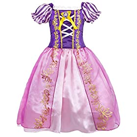 - 51DMwcx8YAL - Cotrio Rapunzel Dress Up for Girls Halloween Princess Costume Birthday Theme Party Dresses
