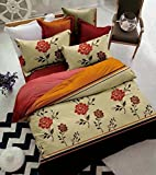 Hautewagon Cotton Bedsheet With 2 Pillowcover And Poly Filled Ac Comforter Set King Brown