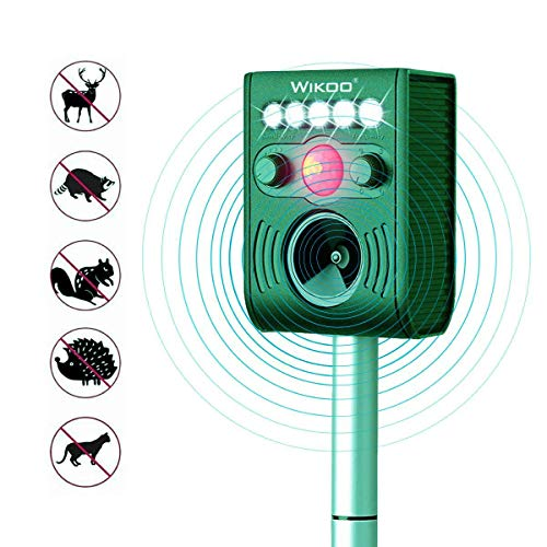 Ultrasonic Animal Repeller, Outdoor Solar Powered Weatherproof Repeller, Motion Activated with Flashing LED Light and Sound Effectively Scares Away Cats, Dogs, Squirrels, Moles (fluorescent green) ()