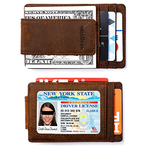(amelleon Magnetic RFID Blocking Money Clip, Minimalist Front Pocket Wallet Made of Cryze House Leather (Brown))
