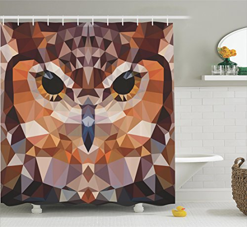 Funky Christmas Decor Ideas - Geometric Decor Shower Curtain Set By Ambesonne, Mosaic Owl Head in Linked Triangle Forms Retro Style Funky Geometric Art Boho Decor, Bathroom Accessories, 75 Inches Long, Brown Orange