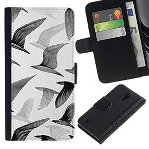 Be Good Phone Accessory // Caso del tirón Billetera de Cuero Titular de la tarjeta Carcasa Funda de Protección para Samsung Galaxy S4 IV I9500 // Seagulls Birds Flight Painting Art White