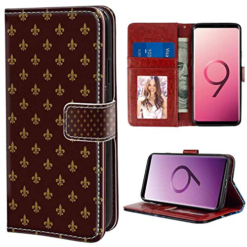 (Samsung Galaxy S9 Plus Wallet Case, Fleur De Lis French Pattern European Culture Theme Abstract Vintage Renaissance Burgundy Earth Yellow PU Leather Folio Case with Card Holder and ID Coin Slot)