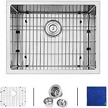 Enbol SD2318 23 Inch 16 Gauge Farmhouse Handmade Undermount Single Bowl Stainless Steel Kitchen Bar Sink