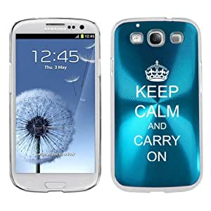 Light Blue Samsung Galaxy S III S3 Aluminum Plated Hard Back Case Cover K33 Keep Calm and Carry On