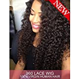 Dreambeauty 360 Lace Front Wig 180% Density Deep Wave Brazilian Virgin Hair 360 Lace Front Human Hair Wigs Pre Plucked Bleached Knots 360 Full Lace Human Hair Wigs for Black Women (20 inch)