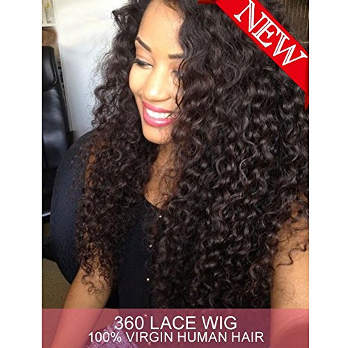 Dreambeauty 360 Lace Front Wig 180% Density Deep Wave Brazilian Virgin Hair 360 Lace Front Human Hair Wigs Pre Plucked Bleached Knots 360 Full Lace Human Hair Wigs for Black Women (20 inch) by Dreambeauty