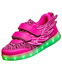 SAGUARO Unisex Kid Boy Girl USB Charging LED Light Up Sport Shoes Luminous Flashing Running Sneakers with Wings