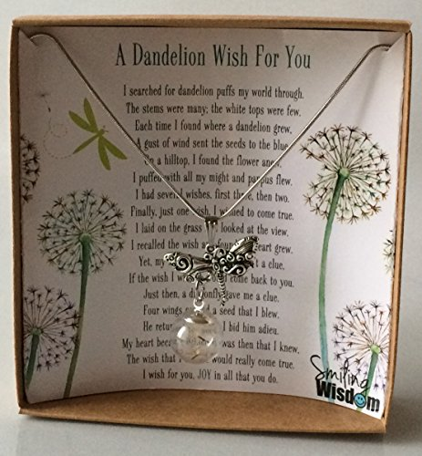 Smiling Wisdom - A Dandelion Wish For You Story Gift Set - 2017 Dragonfly with Real Dandelion Seeds Dangle Necklace - Birthday or Valentine's Day Wish - Antique Silver