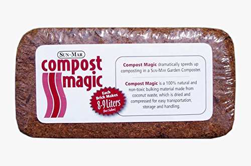 Coco Coir Brick - Highest Quality Replacement for Soil Medium - Works Great for Compost as Well - SunMar Compost Magic