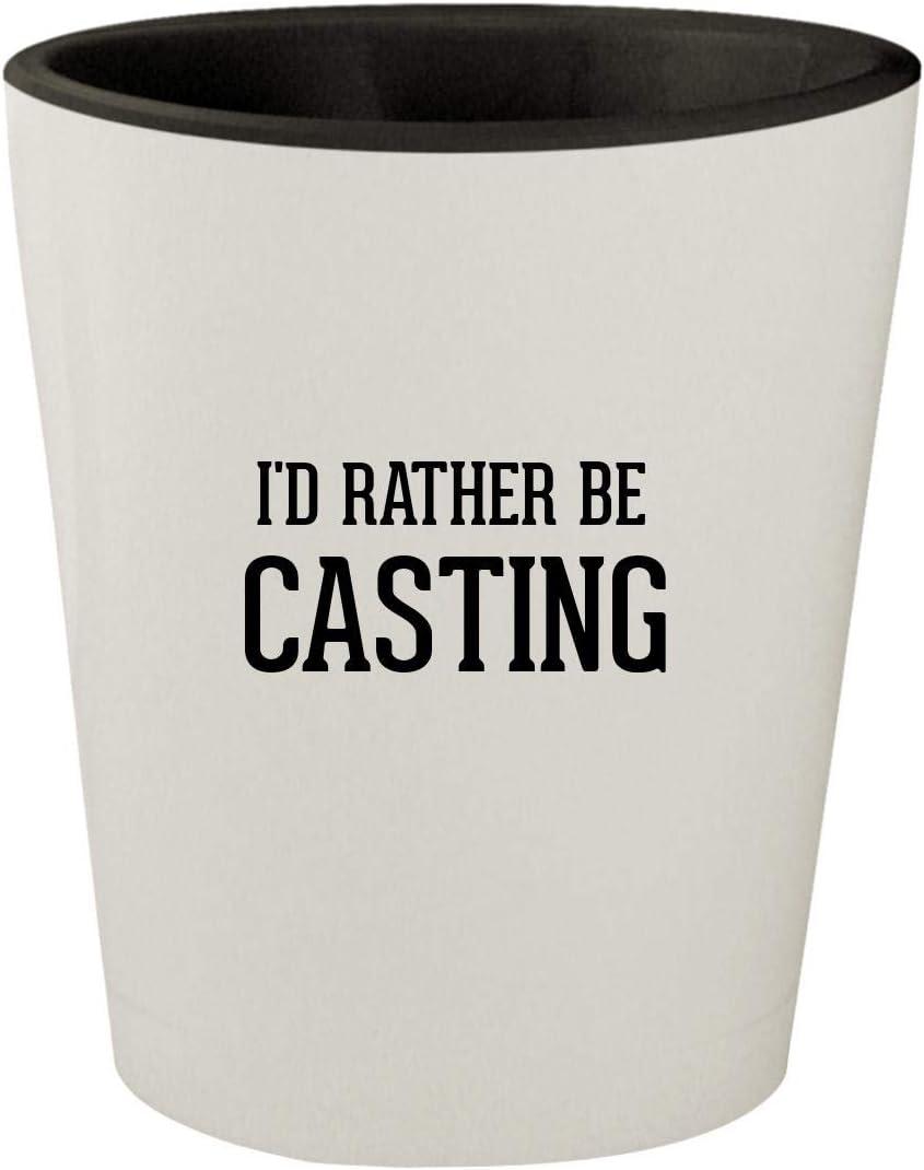 I'd Rather Be CASTING - White Outer & Black Inner Ceramic 1.5oz Shot Glass