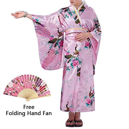 - Women's Kimono Costume Adult Japanese Asian Top Dress Robe Sash Belt Fan Set Outfit (Pink)