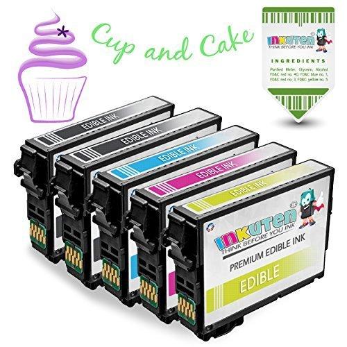 INKUTEN 5-Pack Replacement Edible Ink (2 BK, 1 C, 1 M, 1 Y) for CX3800 CX3810 CX4800 CX5800F CX7800 CX4200 C68 C88 C88+ Printer Edible Cake Printing - Magenta Cx4200 Printer Cartridge