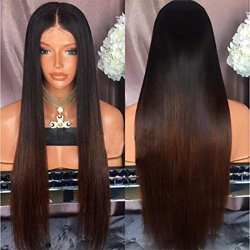 Virgin Human Hair Wigs For Black Women Ombre 360 Lace Frontal Wig Glueless 1B/Brown 360 Lace Frontal Wig Pre Plucked With Baby Hair Silky Straight 360 Wigs For Black Women 2 Tone Dark Roots Wig 16