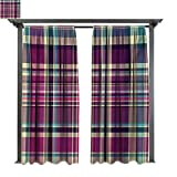 Combynee Outdoor Privacy Curtain for Pergola, Vintage Scotland Pattern in Purple Tones Abstract Retro Traditional Tile, Thermal Insulated Water Repellent Drape (W84 x L108 Inches Cream Blue Purple)