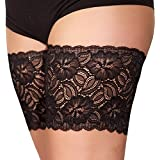 American Trends Lace Elastic Anti-Chafing Thigh Bands with Silicone Sock Pattern B Black C (22.8''-24.8'')