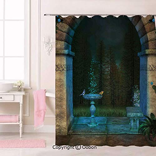 Oobon Forest Landscape from Ancient Archway Birds on Fountain Fairytale Illustration, Fabric Bathroom Decor Set with Hooks, 75 Inches Extra Long
