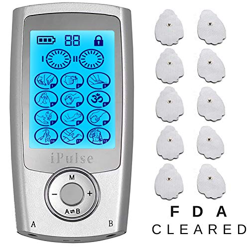 iPulse Massager TENS + EMS Stimulation Combination Unit 12 Therapy Massage Modes 10 Electric Pads Electronic Electrodes Stimulator Device for Pain Relief Arthritis Muscle Strength Tired Sore Muscles