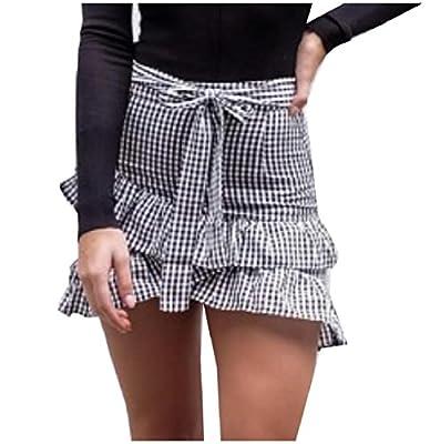 RDHOPE-Women Asymmetric Hem Strappy Plaid Bodycon Mini Skater Skirt