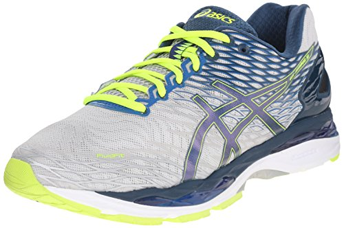 ASICS Men's Gel Nimbus 18 Running Shoe, Silver/Ink/Flash Yellow, 11 2E US