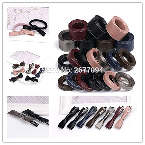 Lavenz 5Meter/L 10 16mm 30mm DIY Manual Material Black Faux Leather Ribbon Trim DIY Layering Fabric PU Ribbon for Hair Accessories Bow