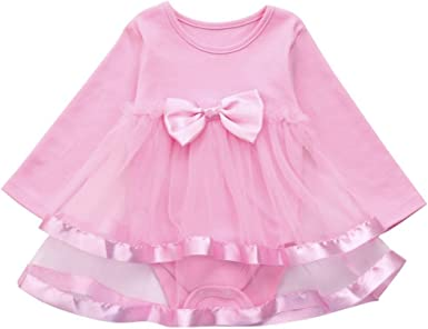 Baby Girls Infant Birthday Tutu Bow Clothes Party Jumpsuit Princess Romper Dress