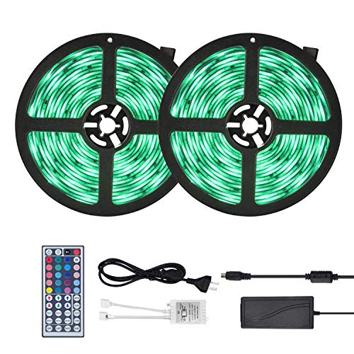 Waterproof LED Strip Lights 32.8ft (10m) RGB 300LEDs Color Changing 5050 Dimmable Multicolored LED Lights Kit with 44key Remote for Ceiling Bar Counter Cabinet Lighting by YUNSHANGAUTO ()