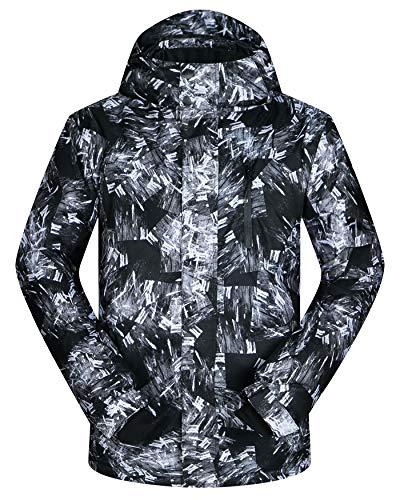 Men's Ski Jacket Outdoor Waterproof Windproof Coat Snowboard Mountain Rain Jacket New (US S(Asian Tag M), Firework Black)