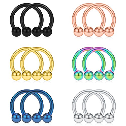 Mix Color Stainless Steel Nose Horseshoe Hoop Rings Eyebrow Lip Ear Tragus Septum Piercing Hanger Retainer 12G ()
