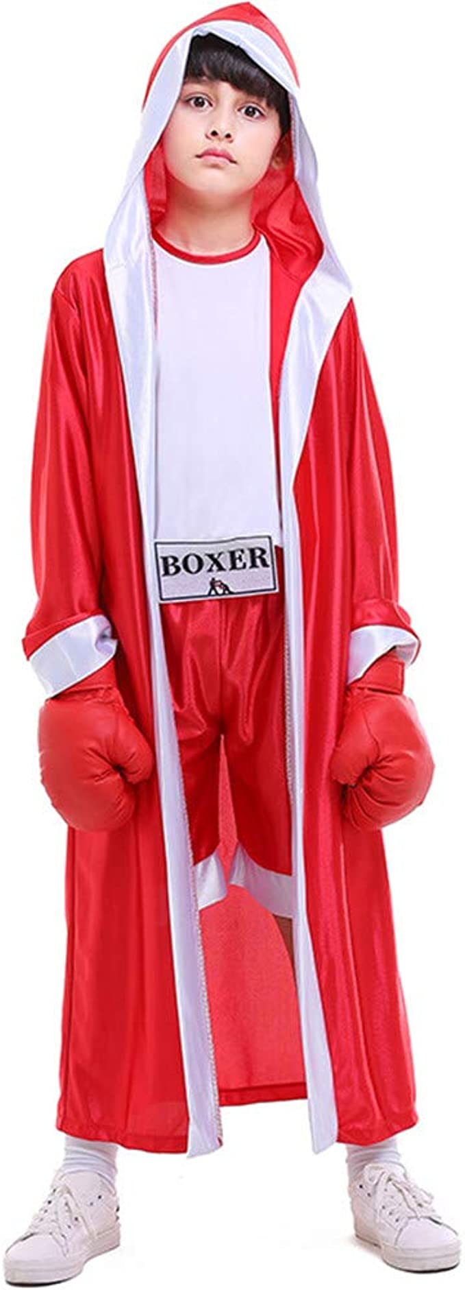 Kids Boys Boxing Costume Red Blue Boxer Cosplay with Boxing Robe Halloween Role Playing Uniform Carnival (Red, L)