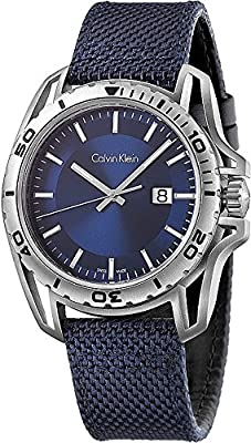 Men's Calvin Klein ck Earth Blue Fabric Strap Watch K5Y31UVN