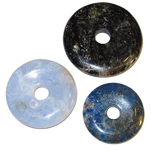 Amulet Set 51 Blue Lapis Lazuli, Chalcedony & Black Tourmaline Chakra Grid Crystal Pendants (Gift ()