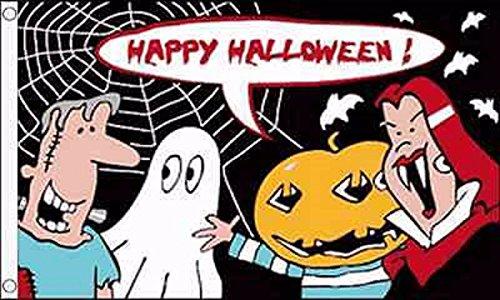 Halloween Party Cartoon Flag 5'x3' (150cm x 90cm) - Woven -