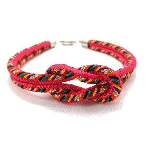 KYOTO ASAHIYA 8colors Japanese Kumihimo Kimono Braid Bracelet with Magnetic Clasp Handmade in Japan (Pink)