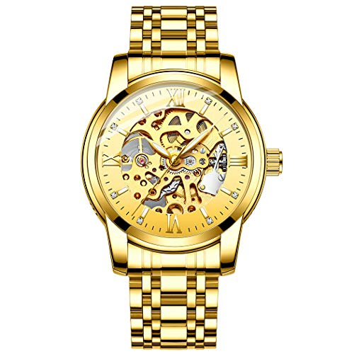 - Original Delicate Skeleton Mechanical Watches for Men Automatic Slef-Wind Wrist Watch Luxury Stainless Steel Watch, Luminous Dial, 30M Waterproof (Full Gold)