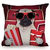 Throw Pillow Cushion Cover,Pug,Funny Dog Watching Movie Popcorn Soft Drink and Glasses Animal Photograph Print,Red Cream Ruby,Decorative Square Accent Pillow Case