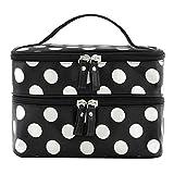 niceeshop(TM) Black Double Layer White Polka Dot Cosmetic Bags Toiletry Makeup Handbags with 4 Zipper