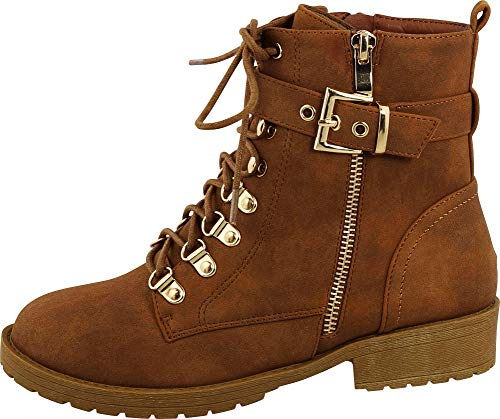 (Cambridge Select Women's Round Toe Strappy Buckle Lace-up Lug Sole Chunky Heel Moto Combat Boot,9 B(M) US,Tan)