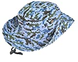Kid's Camouflage Hat Bucket Hat Summer Sun Protection Adjusted Drawstring Strap Boys Fishman Cap 7-14 Years Old Blue