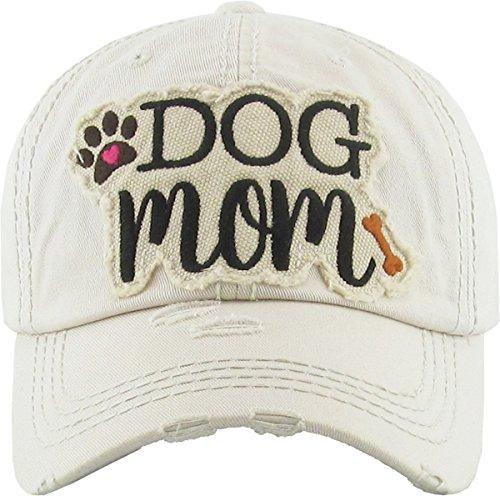 - H-212-DM60 Distressed Baseball Cap - Dog Mom (Beige)